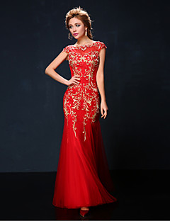 Formal Evening Dress - Ruby Petite Trumpet/Mermaid Jewel Floor-length Tulle / Charmeuse