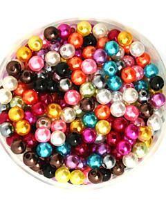 beadia 100g (kb 1000pcs) Az ABS gyöngyház gyöngyök 6mm kerek vegyes színű műanyag laza gyöngyök DIY ékszer készítés