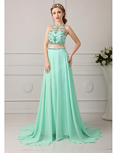 Formal Evening Dress A-line Jewel Floor-length Chiffon Dress