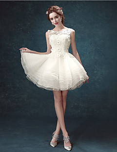 A-line Short/Mini Wedding Dress - Scoop Lace