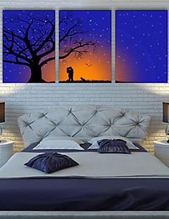 E-HOME® Stretched LED Canvas Print Art Kiss Under The Tree LED Flashing Optical Fiber Print Set of 3