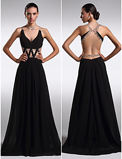 TS Couture Formal Evening Dress - Black Plus Sizes / Petite Sheath/Column V-neck Floor-length Chiffon