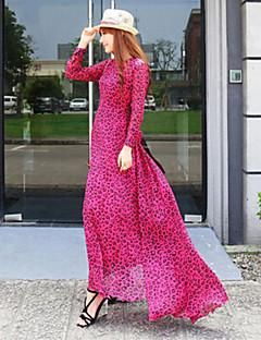 Robe Aux femmes Trompette/Sirène Vintage / Soirée / Travail / Décontracté / Plage / Mignon , Léopard Col Arrondi Maxi Mousseline de soie