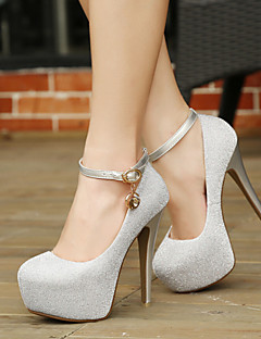 Delicate Pure Color Sparkling Glitter Buckle Women's Wedding Stiletto Heel Platform Pumps/Heels Shoes