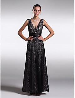 동창회 공식적인 이브닝 드레스 - 검은 칼집 / 칼럼 V 넥 발목 길이 레이스