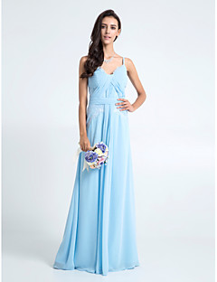 Lanting Bride® Floor-length Chiffon / Lace Bridesmaid Dress - Sheath / Column Spaghetti Straps Plus Size / Petite with Lace / Criss Cross