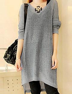 여성의 캐쥬얼 긴 소매 드레스 얇음 니트웨어/아크릴