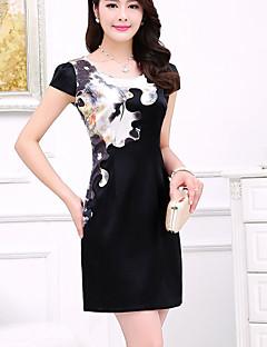 Women's Vintage Plus Sizes Micro Elastic Short Sleeve Above Knee Dress (Silk)