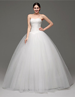 Ball Gown Wedding Dress - White Floor-length Sweetheart Tulle