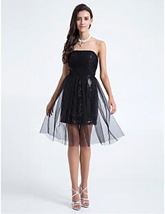 Lanting Knee-length Tulle Bridesmaid Dress - Black Plus Sizes / Petite A-line / Sheath/Column Strapless