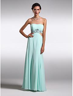 Retrouvailles robe de soirée formelle - ciel bleu gaine / colonne bijou parole longueur mousseline