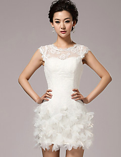 Sheath / Column Wedding Dress Little White Dresses Short / Mini Jewel Lace with Flower