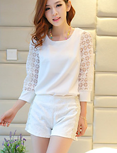 דפוס צווארון עגול פשוטה יום יומי\קז'ואל חולצה נשים,קיץ שרוולים קצרים לבן דק