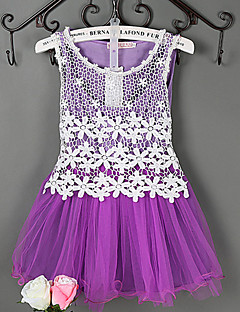 Girl's Jacquard Dress,Cotton / Polyester / Lace / Mesh Summer / Spring / Fall Blue / Pink / Purple