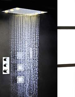 thermostatische chroom badkamer douche kraan set, wisselstroom 6 stuks LED-lampen embeded regendouche