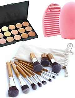 11 deler makeup kosmetisk øyenbryn foundation kabuki børster kits + 15 farger concealer makeup palett + børste renseverktøy
