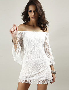 Women's Going out / Club Sexy Lace Dress,Solid Off Shoulder Mini ¾ Sleeve White / Black / Yellow Cotton / Polyester Summer Mid Rise