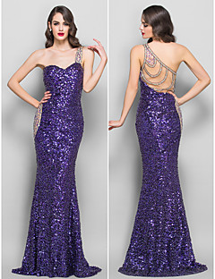 TS Couture Formal Evening / Prom / Military Ball Dress - Regency Plus Sizes / Petite Trumpet/Mermaid One Shoulder Sweep/Brush Train Sequined / Jersey