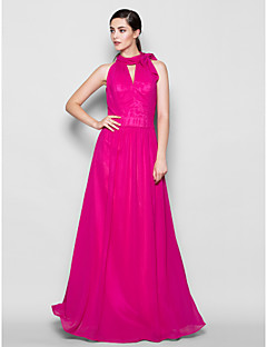 Lanting Bride Floor-length Chiffon Bridesmaid Dress Sheath / Column High Neck Plus Size / Petite with Bow(s)