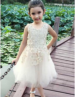 Flower Girl Dress Knee-length Cotton/Lace A-line Sleeveless Dress