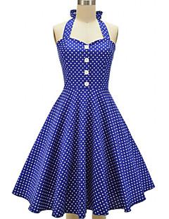Women's Party/Cocktail Vintage / Cute Skater Dress,Polka Dot Halter Above Knee Sleeveless Blue / Red / Black / Green Cotton / Polyester