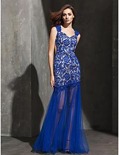 Retrouvailles robe de soirée formelle - ajustement bleu royal& chérie flare-parole longueur de dentelle / tulle