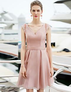 Cocktail Party Dress - Pearl Pink Plus Sizes Sheath/Column V-neck Short/Mini Satin