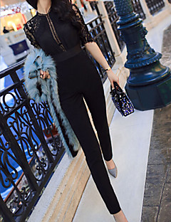 Women's Vintage/Sexy/Bodycon/Casual/Lace/Party/Work Micro-elastic Thin ½ Length Sleeve Jumpsuits (Chiffon/Lace)