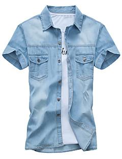 Men's Pure Short Sleeve Top , Denim Casual
