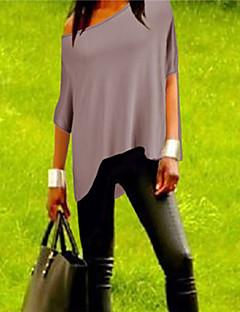 Mulheres Camiseta Decote Canoa Meia Manga Poliéster Mulheres