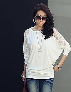 Lång ärm KVINNOR T-Shirts ( Bomull / Spets / Modal )med Rund i Casual / Arbete stil