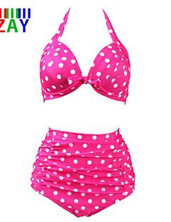 ZAY Women's Sexy Push-up High Waist Dot Print Halter Bikinis Set