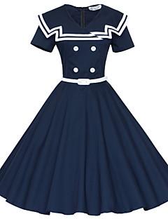 Mulheres Rodado Vestido,Festa/Coquetel Vintage Color Block Decote V Altura dos Joelhos Manga Curta Azul / Vermelho AlgodãoTodas as