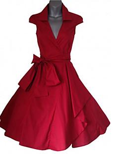 De las mujeres Línea A Vestido Fiesta/Cóctel Vintage,Un Color Escote en Pico Sobre la rodilla Sin MangasAzul / Rojo / Blanco / Negro /
