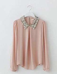 Damen Solide Einfach Lässig/Alltäglich Bluse,Hemdkragen Sommer Langarm Rosa / Weiß Dünn