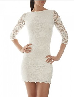 Women's Club Bodycon Dress,Solid Round Neck Knee-length ½ Length Sleeve White / Black Summer