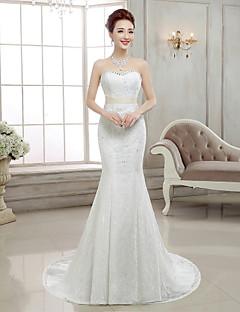 Trumpet / Mermaid Wedding Dress Sweep / Brush Train Sweetheart Lace with Beading