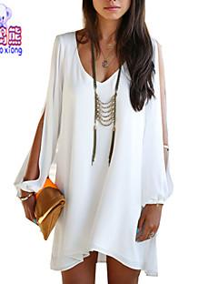 Damen Solide Einfach Lässig/Alltäglich Bluse,V-Ausschnitt Sommer Kurzarm Blau / Weiß / Schwarz Dünn