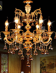 Modern Gold Color LED Crystal Chandelier With 6 Arms For Living Room Bedroom And Dining Room Lighting
