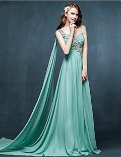 저녁 정장파티 드레스 - 스카이 블루 A라인 스위프/브러쉬 트레인 원 숄더 쉬폰