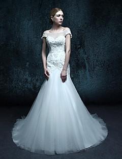 Trumpet/Mermaid Wedding Dress-Court Train Scoop Tulle
