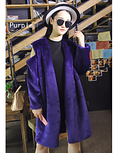 Fur Coats Coats/Jackets Long Sleeve Faux Fur Grape/Purple