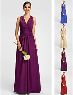 Vestido - Vermelho / Uva / Azul Real / Champanhe Linha-A Decote em V Longo Chiffon Tamanhos Grandes / Pequeno