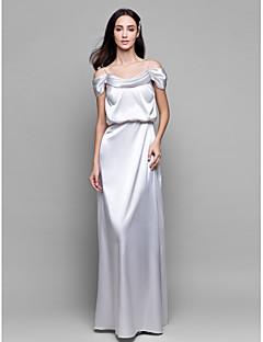Lanting Bride® Floor-length Satin Chiffon Bridesmaid Dress Sheath / Column Spaghetti Straps with