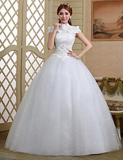 נשף שמלת כלה  עד הריצפה צווארון גבוה תחרה / טול עם קריסטל / פרח / פאייטים