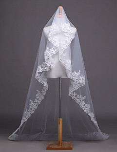 One-tier - Lace Applique Edge - Angel cut/Waterfall - Cathedral Veils
