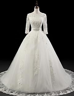 Abito da sposa - Bianco Palloncino Decorata Strascico da cappella Organza