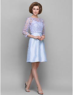 Sheath/Column Mother of the Bride Dress - Lavender Knee-length 3/4 Length Sleeve Lace/Taffeta