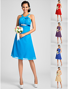 Knee-length Chiffon Bridesmaid Dress - Ocean Blue / Royal Blue / Ruby / Champagne / Grape Plus Sizes / Petite A-line / PrincessStraps /