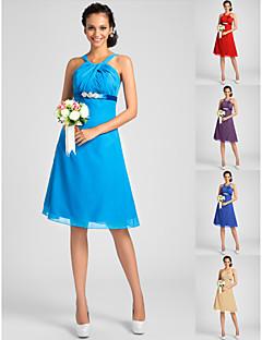 thuiskomen bruidsmeisje jurk knie lengte chiffon een lijn riemen jurk